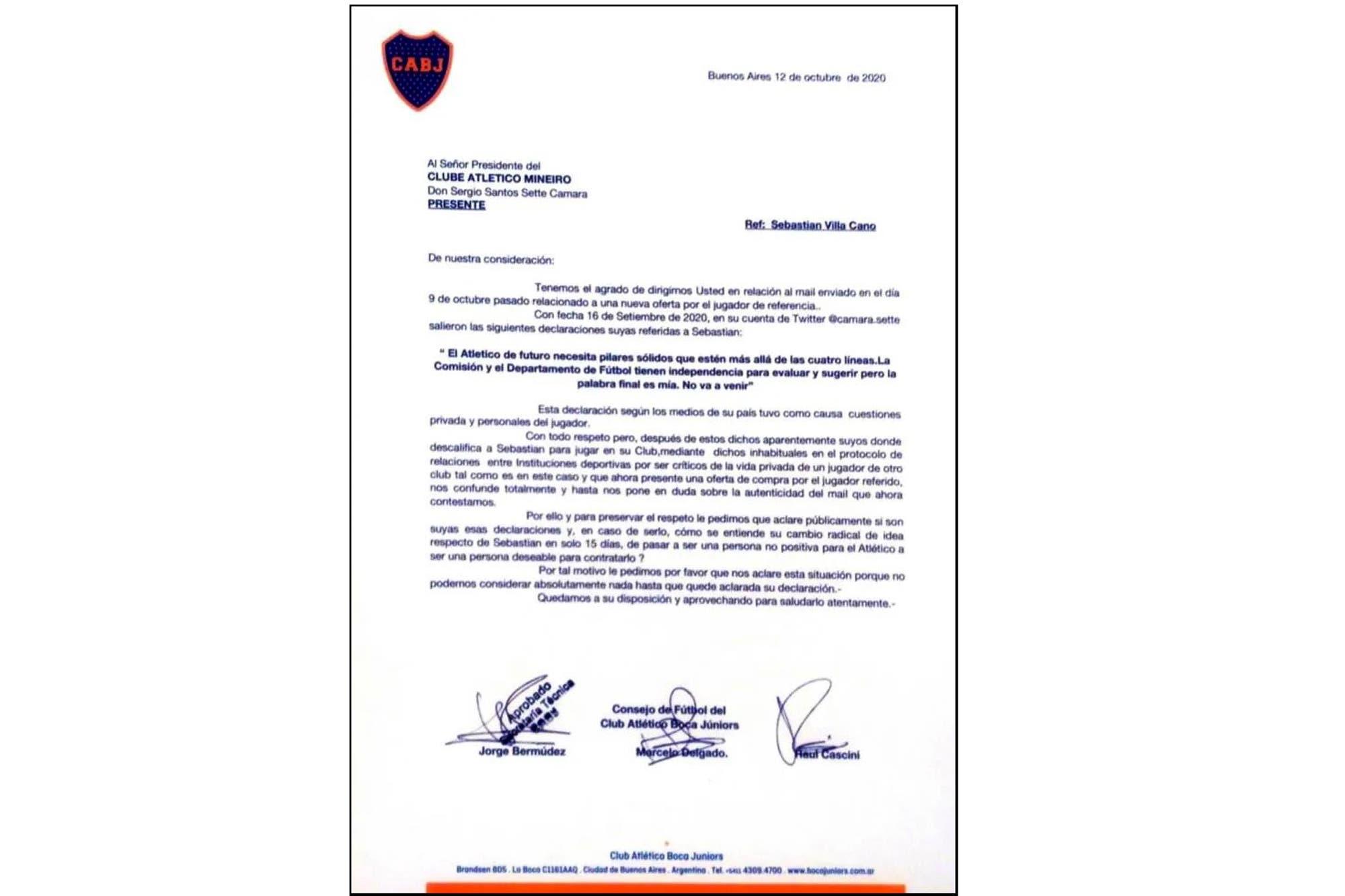 La nota que Boca le envió a Mineiro pidiéndole explicaciones por el cambio de postura sobre Sebastián Villa